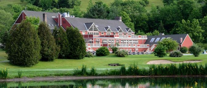 Backside of the Quechee Club House for Golf, Swimming, Skiing, X-country, Skating, Tennis,  Squash, Fitness facilities, Massages, Restaurants.