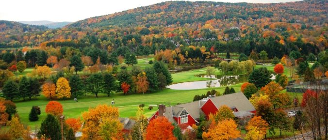 Beautiful foliage around Quechee Lakeland Golf Course.  Come visit us in early October for the best views.  For an even better vantage point, take a hot air balloon ride for a life changing activity!
